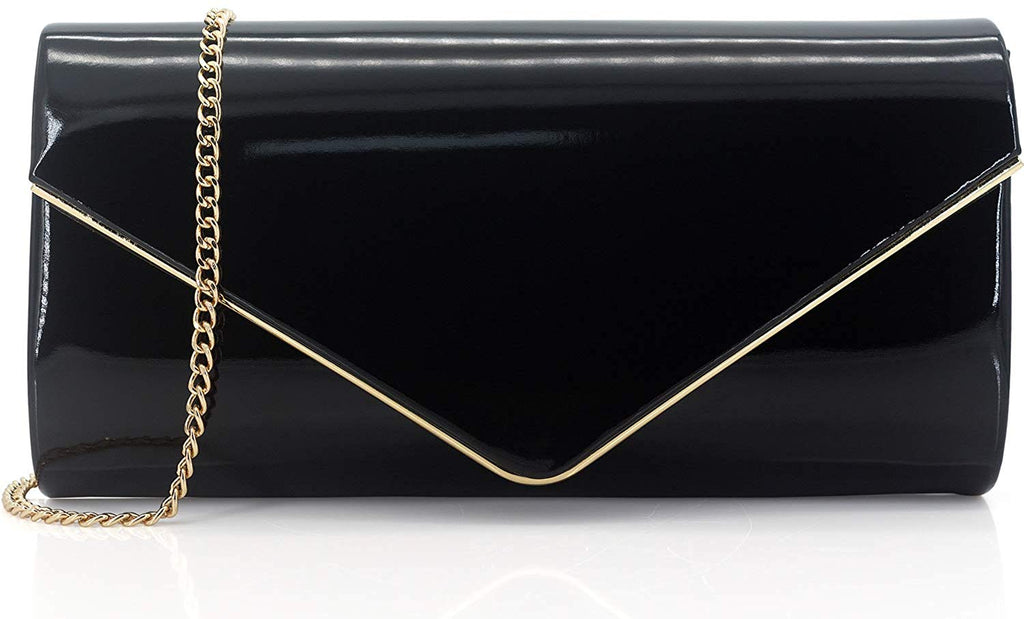 Patent Leather Envelope Clutch Purse Shiny Candy Foldover Clutch Evening Bag for Women