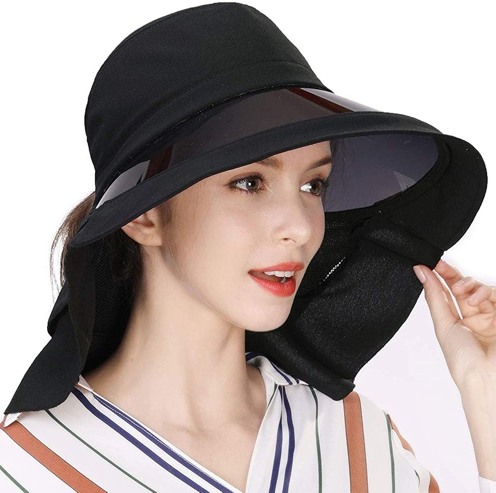 Womens Summer Flap Cover Cap Cotton UPF 50+ Sun Shade Hat with Neck Cord