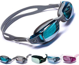 Mirrored Swim Goggles Soft and Comfortable - Anti-Fog UV Protection, Best Tinted Swimming Goggles with Case