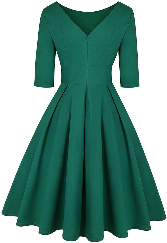 Women's 1950s Retro Vintage Cocktail Party Long Sleeve Swing Dress