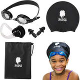 Complete Set Swim Cap for Braids and Dreadlocks Goggles Wet Bag Nose Clip Ear Plug Long Hair, Extensions, and Curly Hair