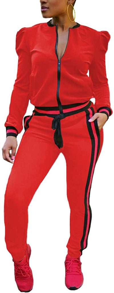 Women's 2 Pieces Outfits Long Sleeve Zipper Jacket and Pants Set Tracksuits