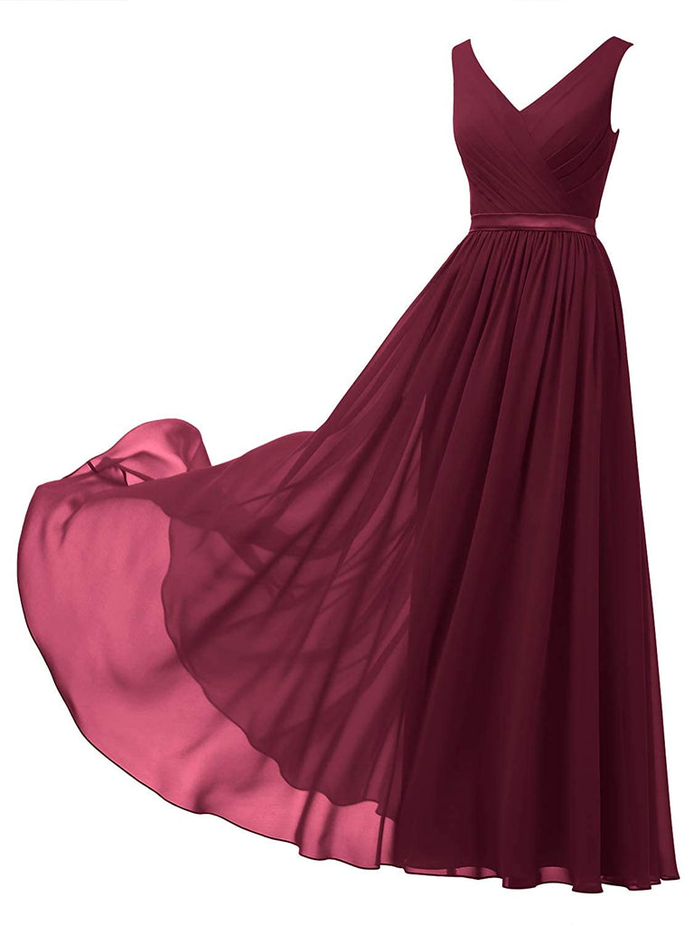 Handmade Pageant Dress V-Neck Chiffon Bridesmaid Dress Long Party Evening Formal Gown Sleeveless