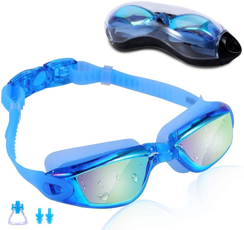 Swim Goggles for Men Women Teens, Anti-Fog UV-Protection Leak-Proof
