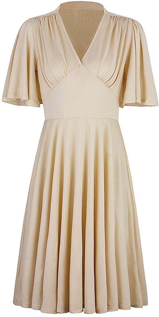 Womens Vintage 1920s V Neck Rockabilly Swing Evening Party Cocktail Dress with Sleeves