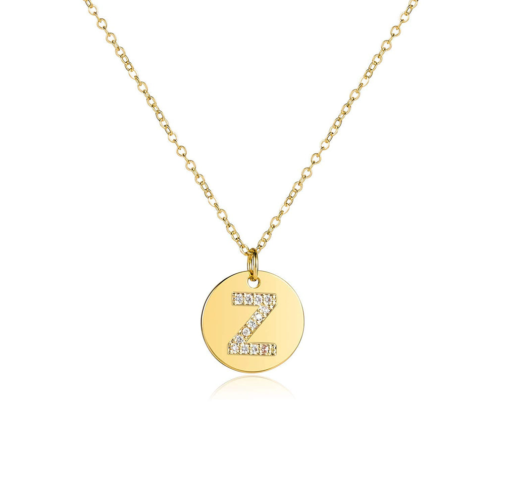 Disc Initial Necklace 18K Real Gold-Plated Letters A to Z 26 Alphabet Disc Pendant Necklace for Women Birthday Gifts