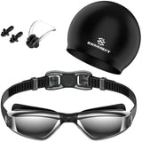 Swimming Goggles + Nose Clip + Ear Plugs, Anti Fog UV Protection for Adult Men Women Youth Kids Child (Pro-Black)