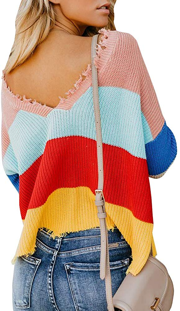 Womens Cropped Loose Rainbow Pullover Sweater V Neck Sweaters Blouse