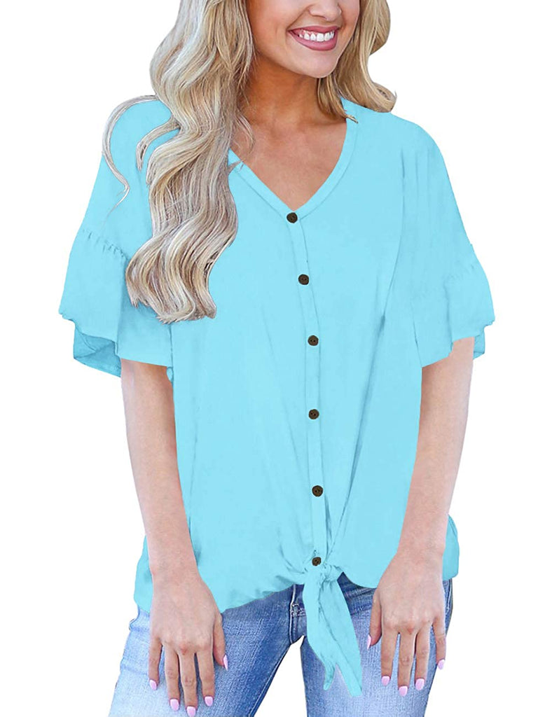 Womens Short Sleeve V Neck Button Down Shirts Tie Front Knot Henley Tops Loose Blouses