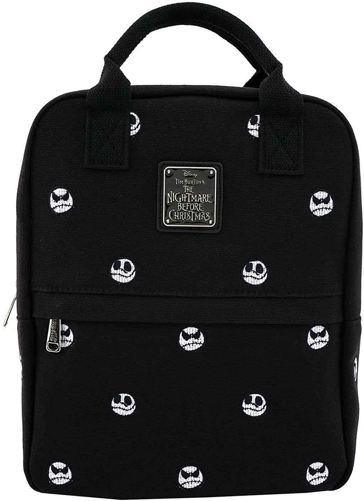 Nightmare Before Christmas Jack Skellington Embroidered Canvas Backpack (One Size Black)