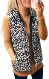 Women's Casual Sleeveless Zip Up Sherpa Fleece Vest Warm Cardigan with Pockets