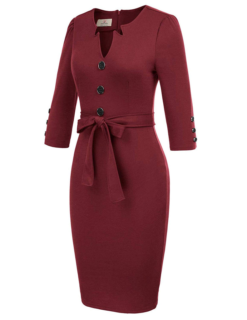 Women Retro 3/4 Sleeve Work Office Business Pencil Dress with Belt