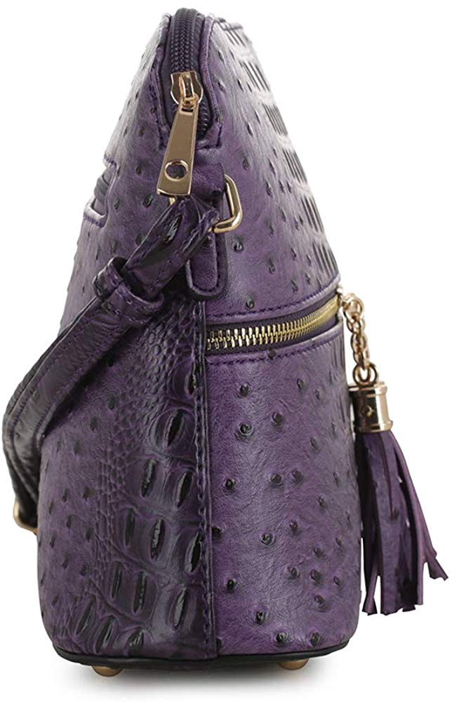 Women Animal Pattern Lightweight Medium Dome Crossbody Bag with Tassel