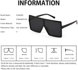Ultralight Square Oversized Sunglasses Classic Fashion Style 100% UV Protection for Women Men