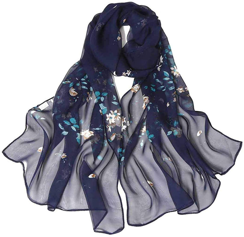 Lightweight Print Floral Pattern Scarf Shawl Fashion Scarves Sunscreen Shawls for women