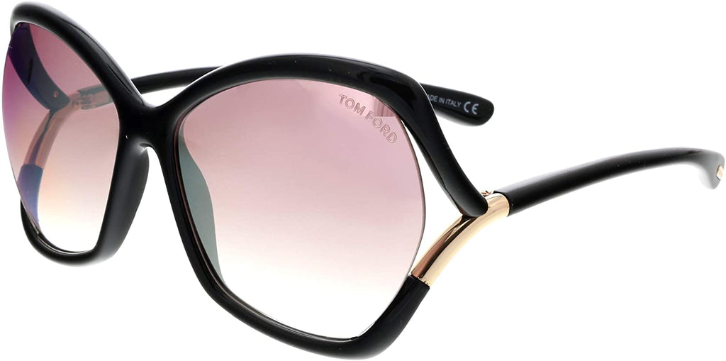 Astrid-02 Black / Purple Lens Mirror Sunglasses, Shiny Black / Gradient Or Mirror Violet