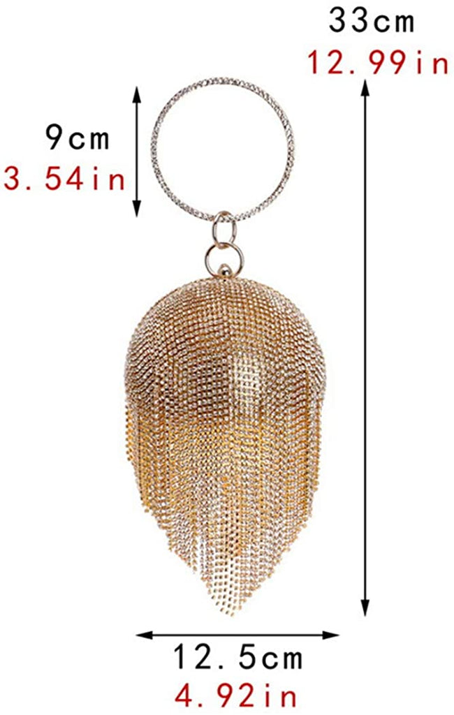 Women Round Ball Crystal Evening Clutch Purse Tassel Wedding Party Hand Bags
