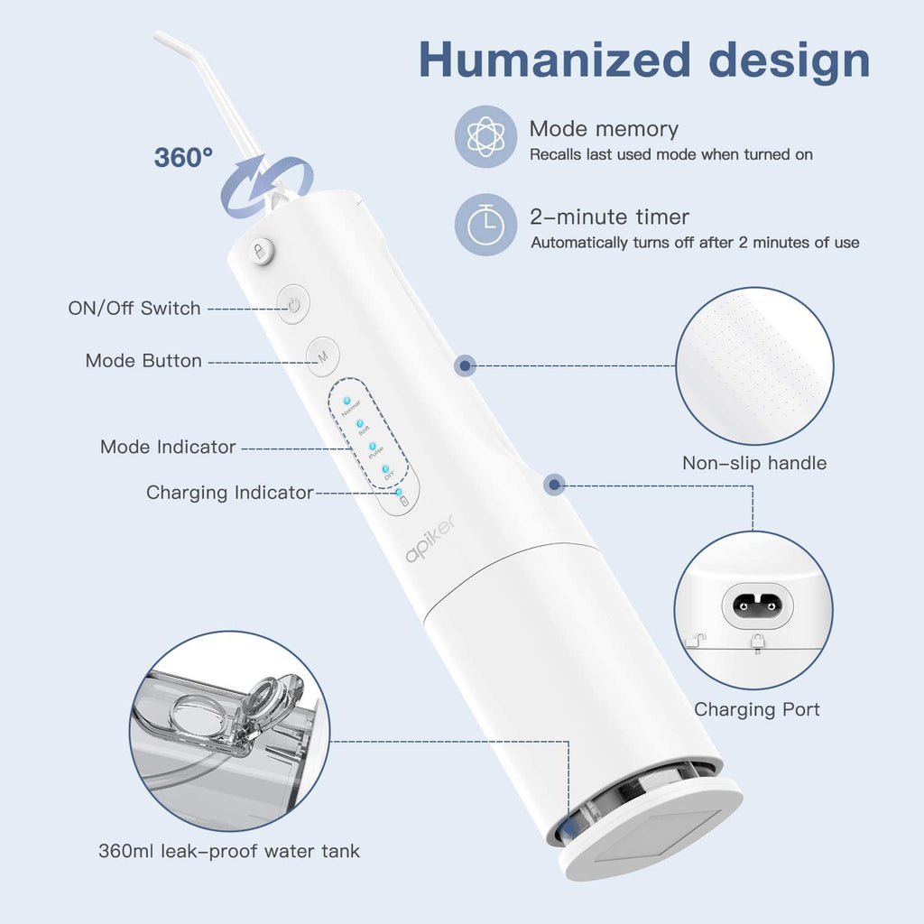 Power Dental Flosser, Cordless Dental Oral Irrigator with 4 Working Modes and 360ML Water Tank, USB Rechargeable, Professional Teeth Cleaner for Travel