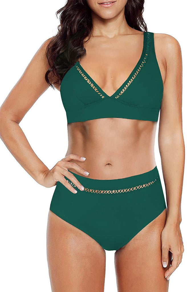 Womens Two Piece High Waisted Mesh V Neck Bikini Set Summer Swimsuits Strappy Bathing Suits