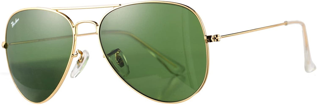 Classic Aviator Sunglasses for Men Women 100% Real Glass Lens