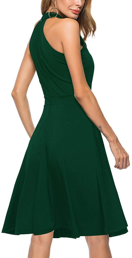 Women's Sleeveless Halter Neck A-Line Casual Party Dress
