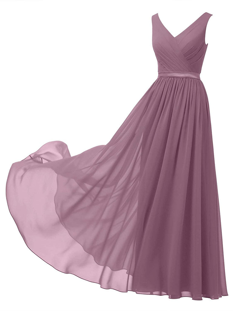 Classic A-line Chiffon Long Dress V-Neck Chiffon Bridesmaid Dress Long Party Evening Formal Gown Sleeveless