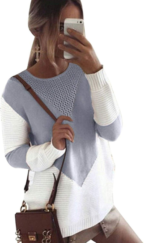 Sweaters for Women Long Sleeve Crew Neck Pullovers Stitching Color Loose Knitted Sweaters