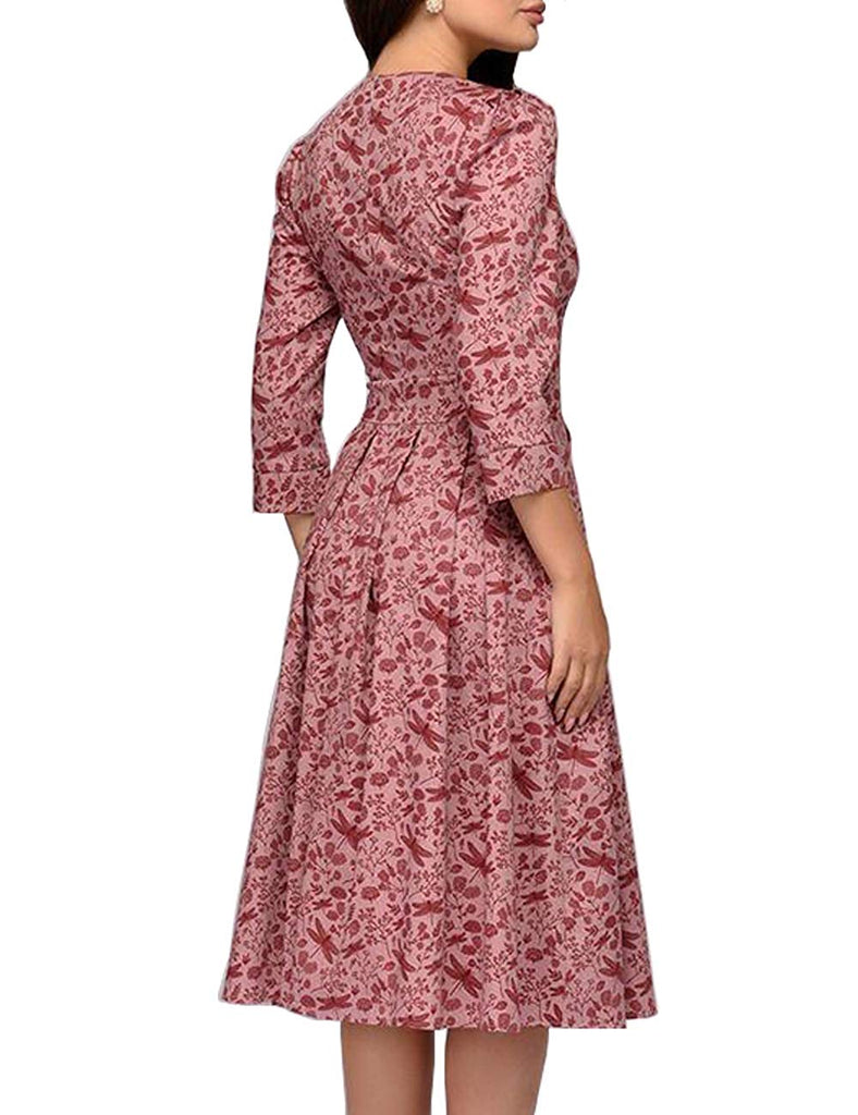 Simple Flavor Women's Floral Evening Flare Vintage Midi Dress 3/4 Sleeve