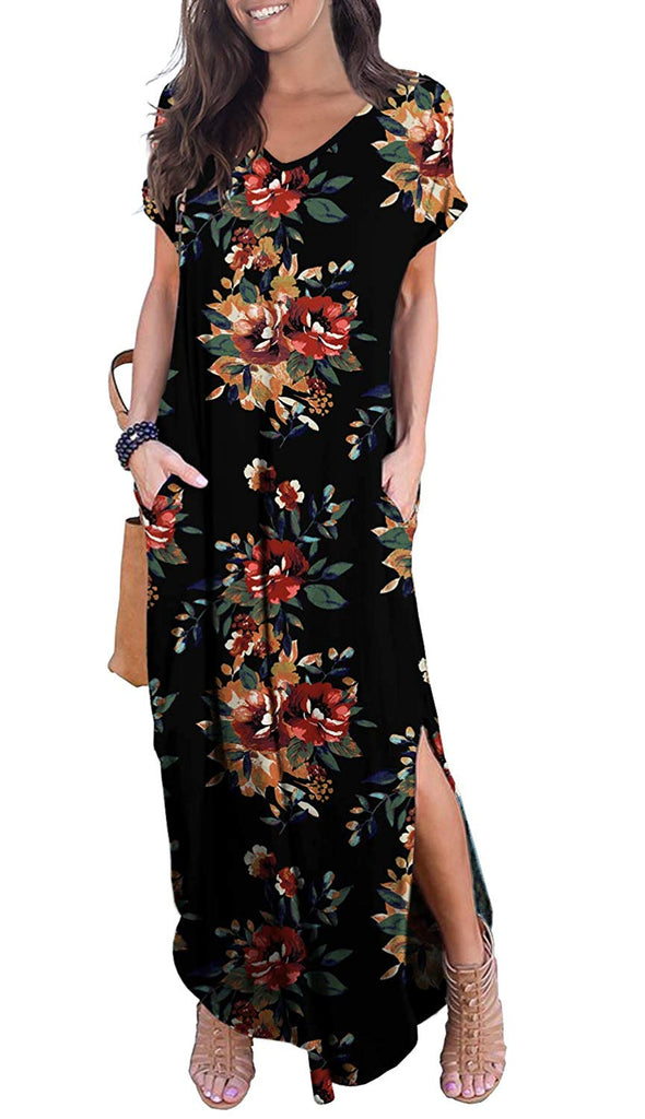 Women's  Short Sleeve Split Maxi Dresses