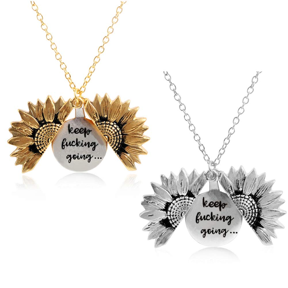 You are My Sunshine Necklace Sunflower Open Locket 14K Gold Plated Necklace