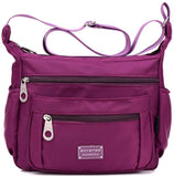 Nylon Crossbody Shoulder Bag, 9 Pockets Protects Against Water