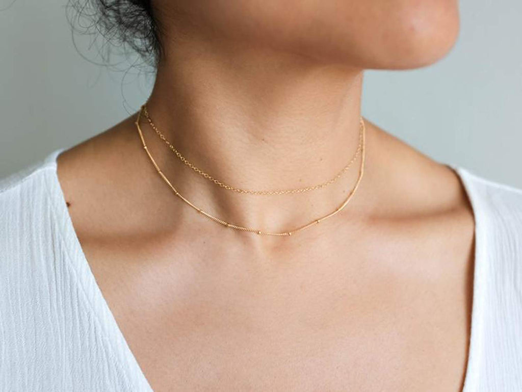 Handmade Simple 14K Gold Plated/Silver Plated and Titanium Steel Butterfly Delicate Dainty Star and Bead Chain Thin Heart Pendant Choker Necklace for Womens