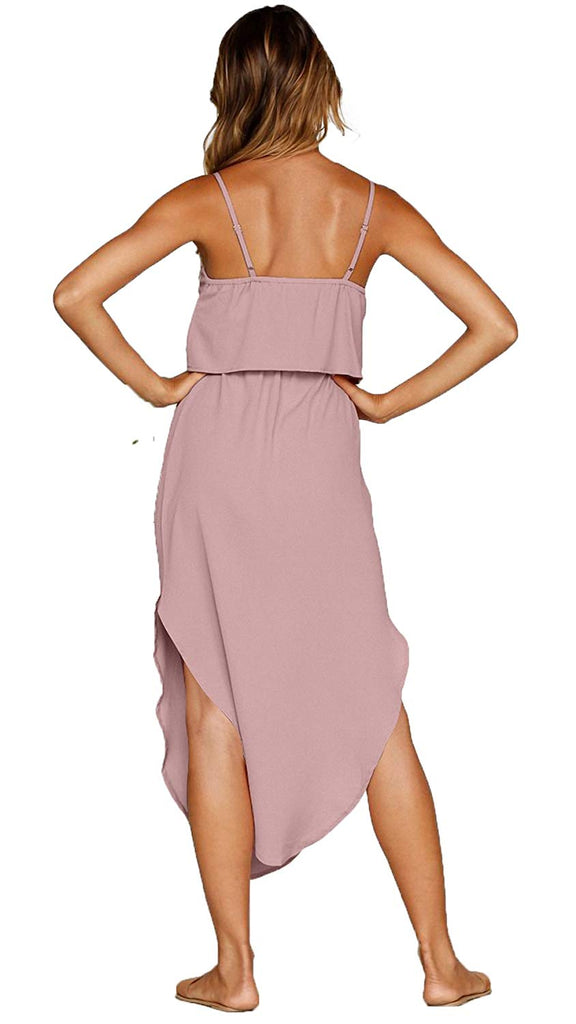 Women's Adjustable Strappy Split Summer Beach Casual Midi Dress