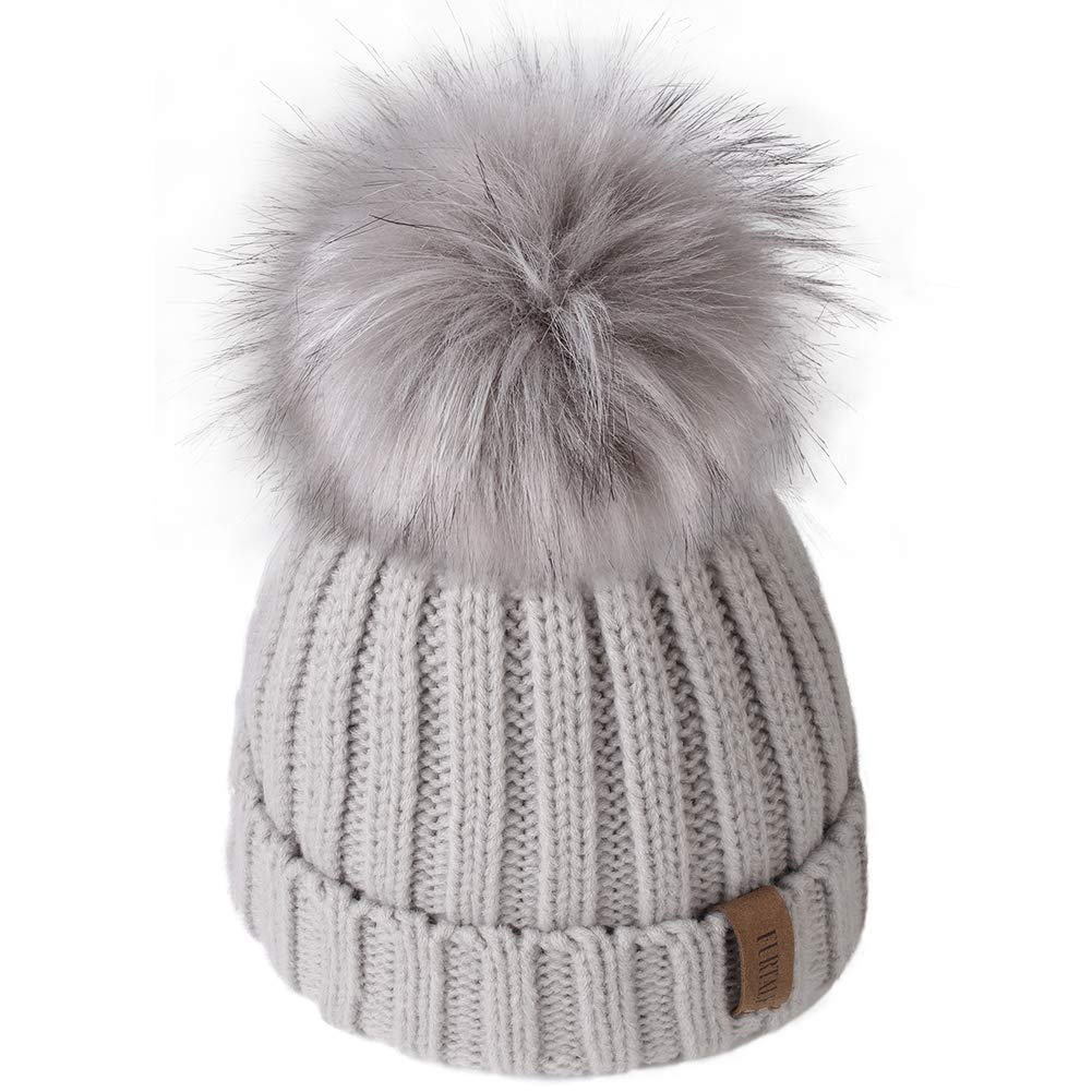Kids Winter Knitted Pom Beanie Bobble Hat Cotton Lined Faux Fur Ball Pom Pom Cap Unisex Kids Beanie Hat