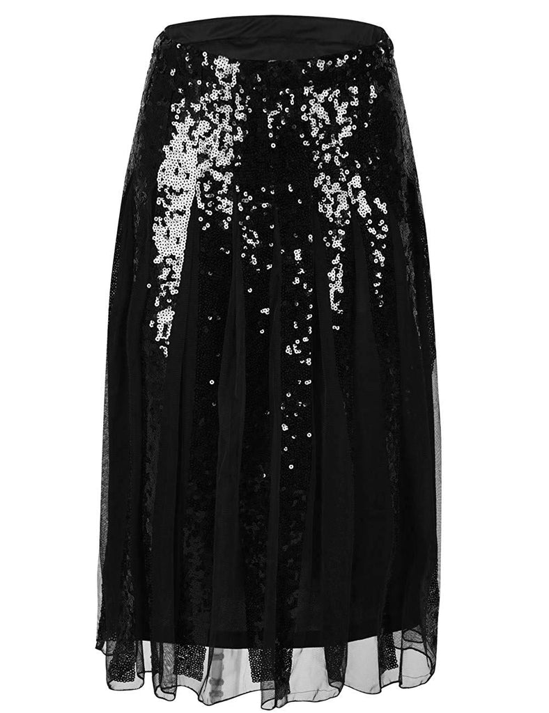 Women's Sequin Skirt High Waist Tulle Flare Sparkle Cocktail Party Pleated Skirt