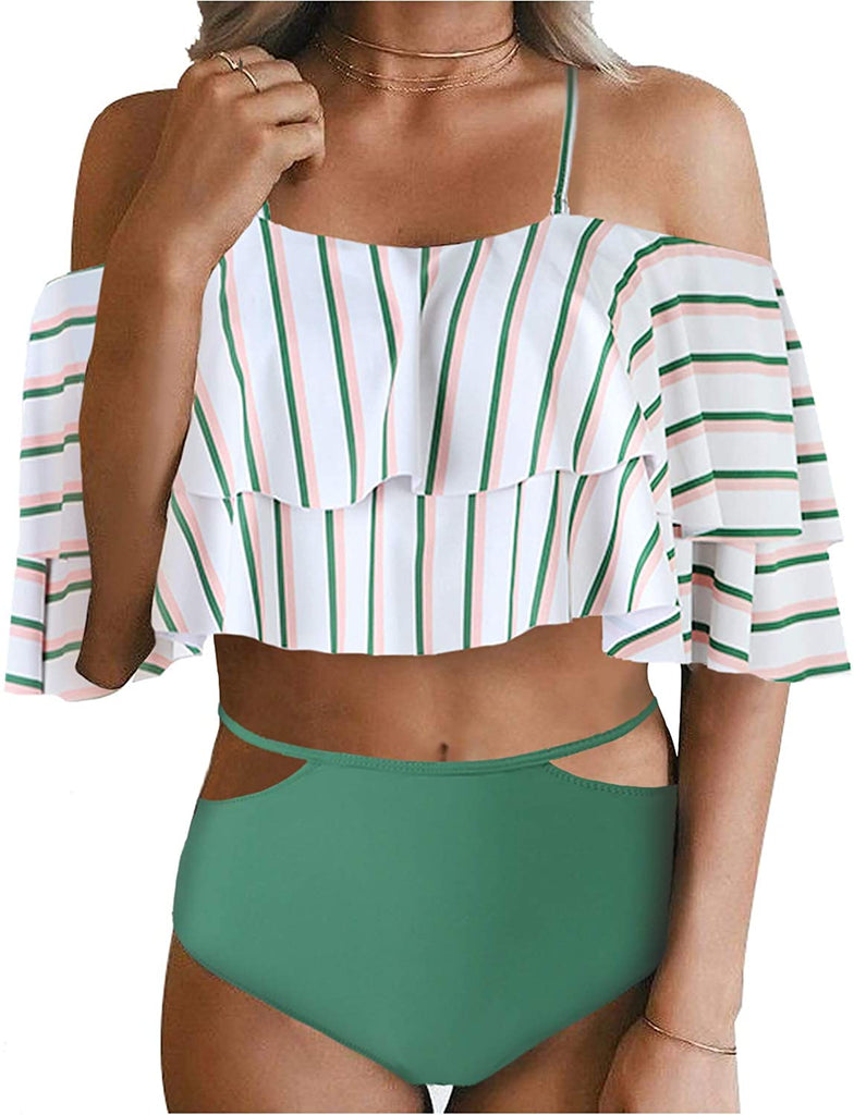 Casual Pull-on Bikini Women Two Piece Swimsuit High Waisted Off Shoulder Ruffled Bikini Set