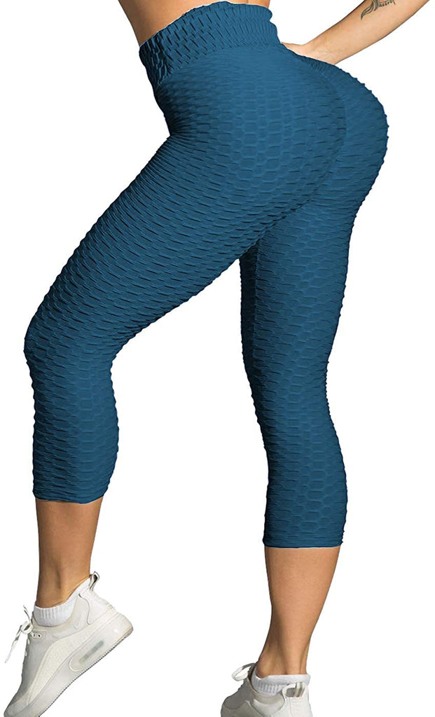 Women High Waisted Ruched Butt Lift Textured Scrunch Leggings Booty Tights Booty Yoga Pants