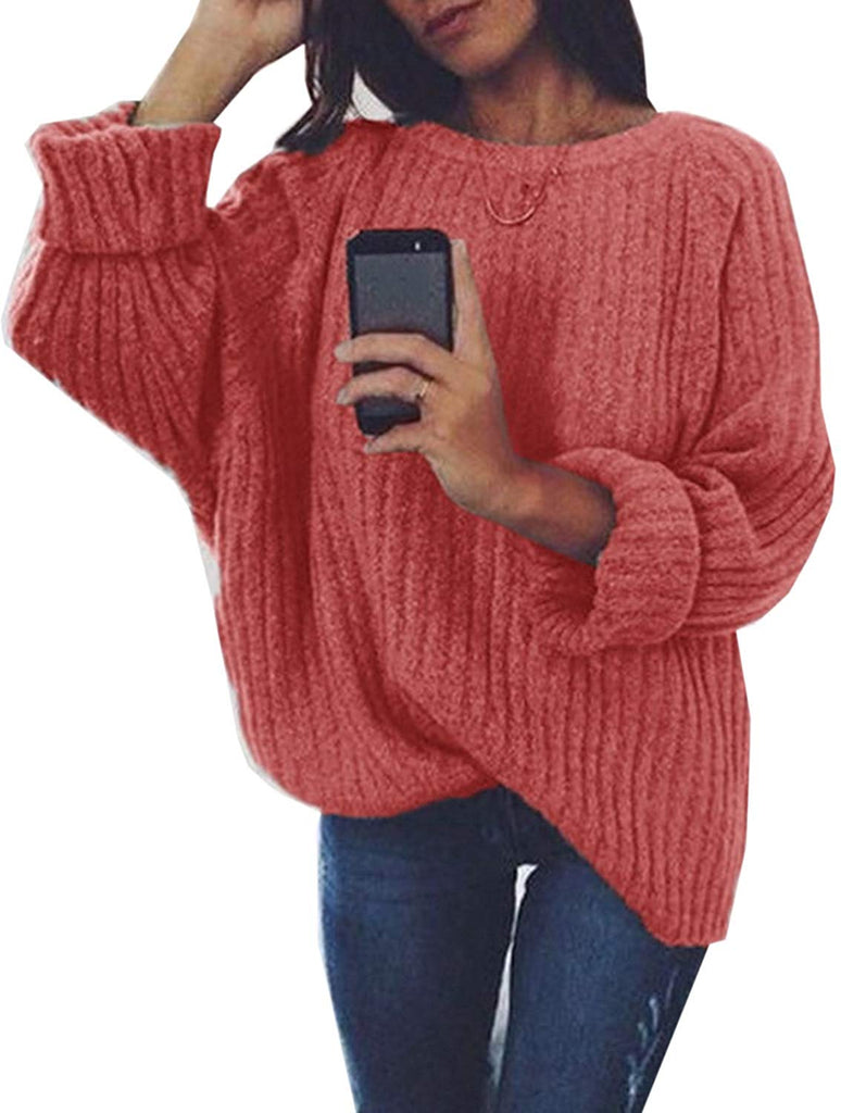 Women's Crew Neck Solid Long Drop Sleeves Loose Knit Pullover Sweaters