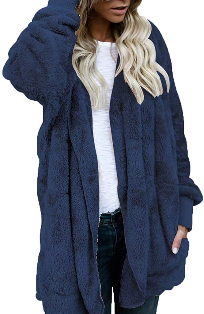Women Open Front Hooded Draped with Pockets Fuzzy Fleece Cardigan Coat