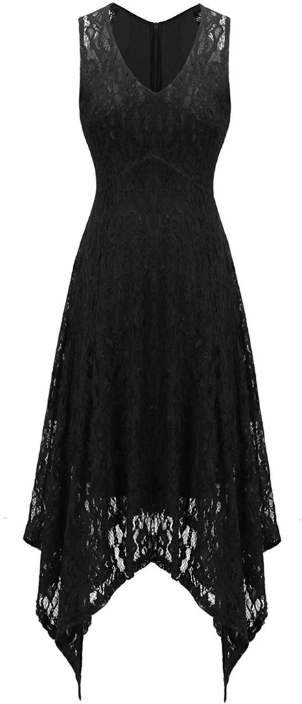 Women's 1950's Dress Halter Hi-Lo Floral Lace Cocktail Party Bridesmaid Dress