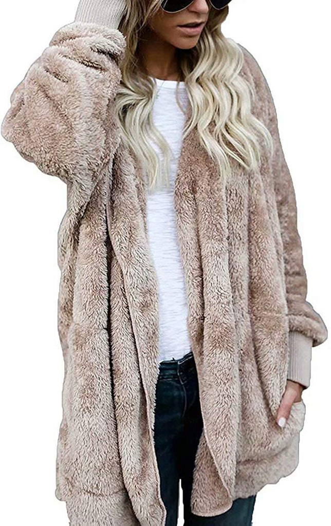 Women Hooded Cardigan Fluffy Fleece Coat Open Front Jacket Outwear Pockets