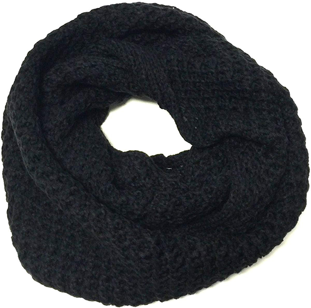 Winter Ribbed Knit Women's Plaid Print Infinity Scarf