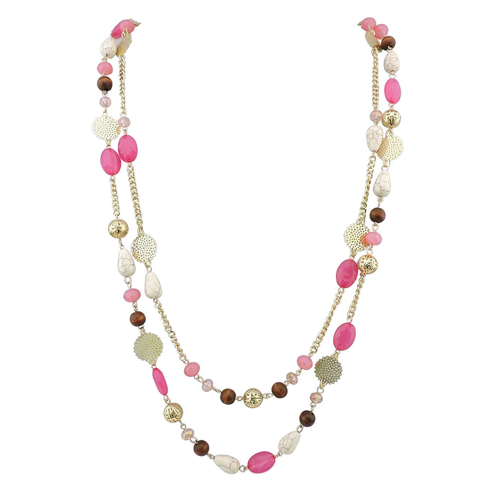 14K Gold Plated Link Chain 2 Layer Crystal Wood Acrylic Colorful Women Party Long Necklace Gift