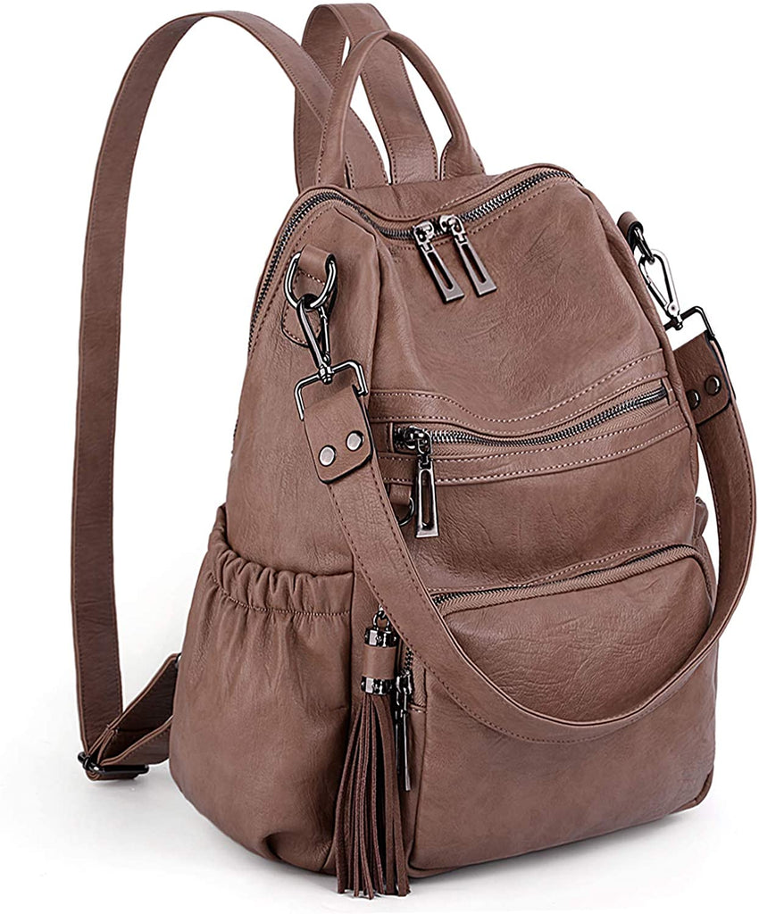 Women Backpack Purse PU Washed Leather Convertible Ladies Rucksack Tassel Zipper Pocket Shoulder Bag