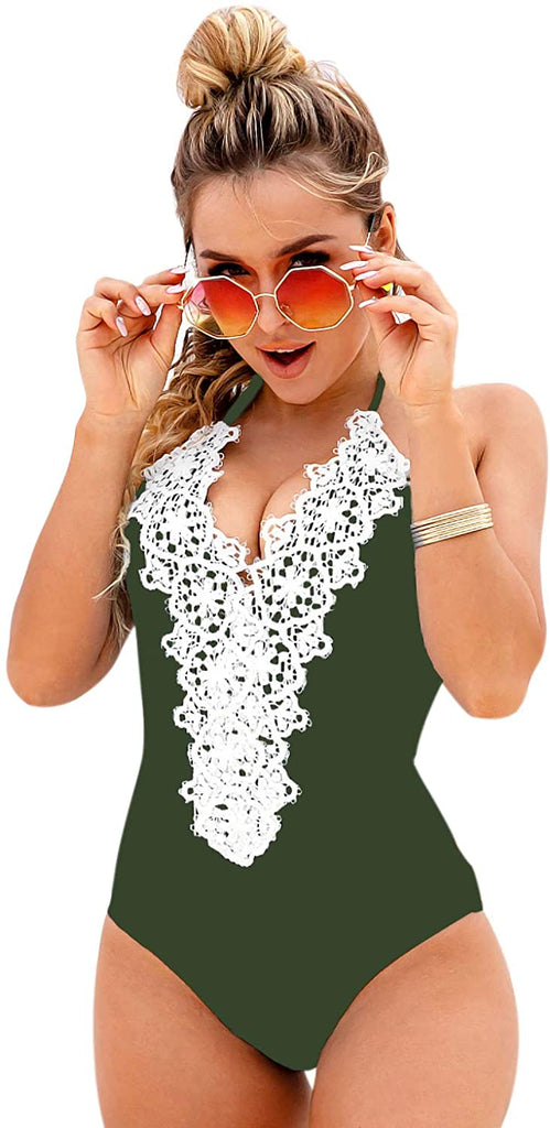 Women's Vintage One Piece Swimsuit Lace Tummy Control Halter Swimwear Bathing Suit