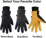 Winter Gloves Deerskin Suede Leather Palm with Big Patch - Water-Resistant Windproof Insulated Work Glove for Driving Cycling Hiking Snow Skiing - Thermal Gifts for Men and Women Black/Gray/Tan