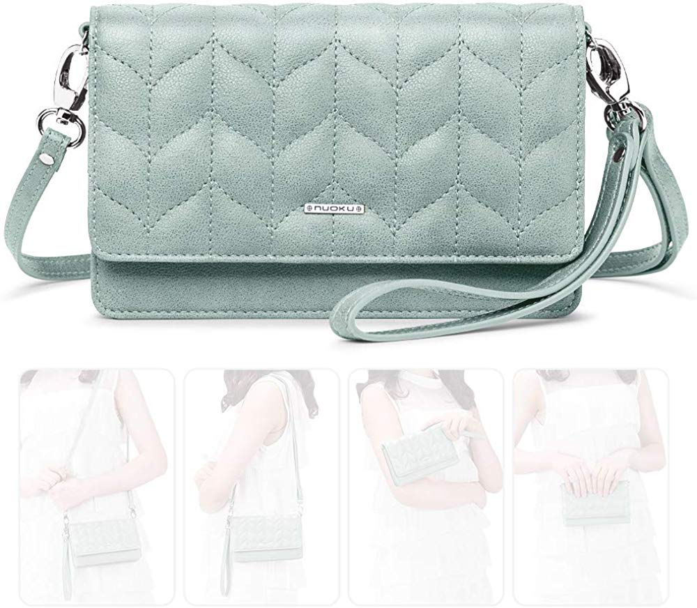 Women Small Crossbody Bag Cellphone Purse Wallet with RFID Card Slots 2 Strap Wristlet