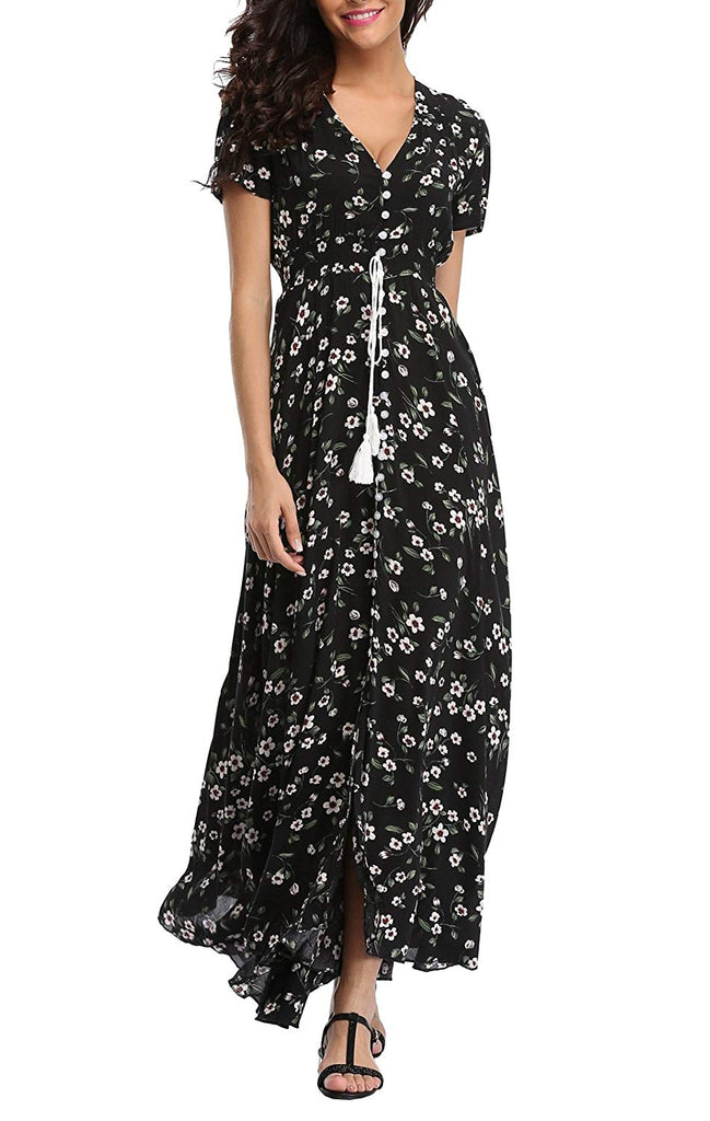 Women's Floral Maxi Dresses Boho Button Up Split Beach Party Dress