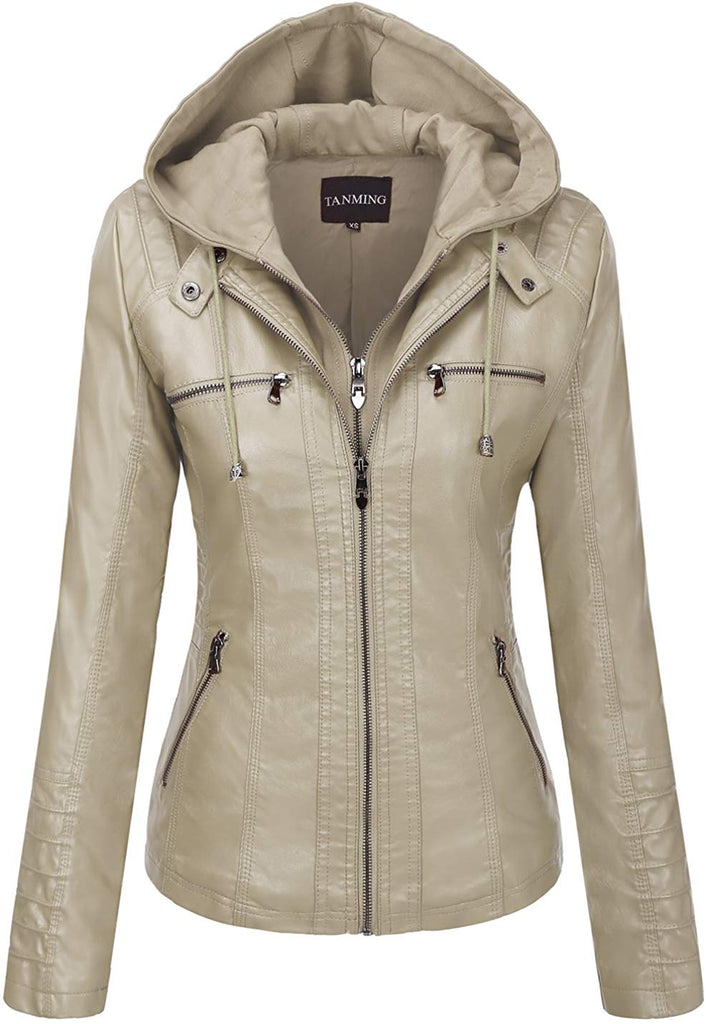 Women's Removable Hooded Faux Leather Jackets
