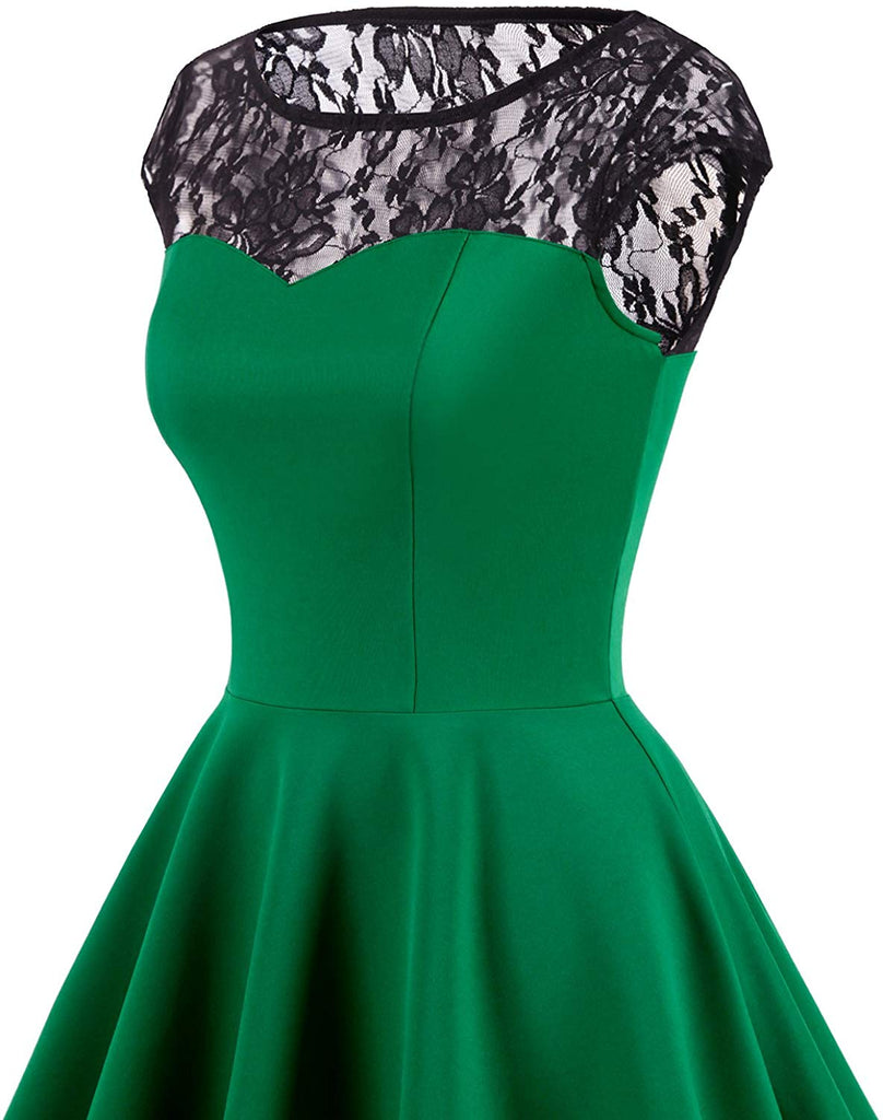 Women's Vintage 1950s Floral Lace Scoop Neck Cap Sleeve Cocktail Party Dress